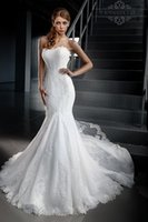 Wholesale Exquisite Mermaid Winter Lace Wedding Dresses With Long Sleeve Wrap Fitted Sheer Train White Applique Bridal Dresses Gown Custom Made