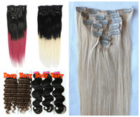 auburn hair blonde highlights - Clip In On g Bags Indian Remy Human Hair Extensions Yaki Wavy Fuscia Black Brown Blonde Piano Highlight Mix Ombre Color