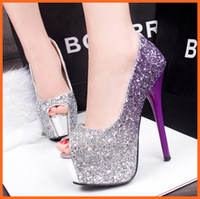 Wholesale Glitter Women Pumps Bridal Wedding Shoes Peep Toe Thin High Heels Fashion Purple Red Blue Platform Prom Party Shoes Ladies stiletto