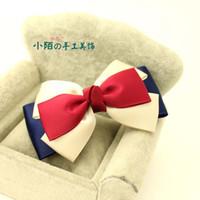 Pequeños adornos de pelo de la calle hebilla hecha a mano del arco Corea del ventilador cabeza de flor cuerda cuerda coreano tocado coreano pelo azul y rojo