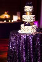 Wholesale Purple Christmas Wedding Banquet Birthday Party MM Round Sequin Table Cloth Inch Inch Inch