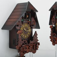 antique cuckoo clocks - Wonderland New Unique Wood Wall Clock Cuckoo Bird European American Antique Style Home Decoration C