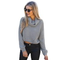 Cheap Autumn winter new turtleneck crop sweater solid casual 2015 short women sweaters and pullovers knitting agasalho feminino jumper