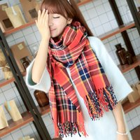 Wholesale New Autumn Winter Thicken Cashmere Infinite Tassel Scarf Print Colorful Plaid Foulard Women Scarves Shawl H0205a