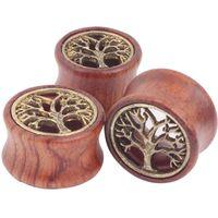 ear gauges - Sena Piercing Plugs Wholesales New Tree Of Life mix size Flare Ear flesh tunnel Gauges Wood Ear Plug