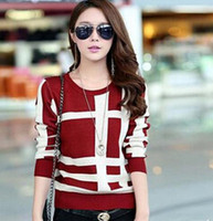Wholesale New Fashion Arrival Women Sweaters And Pullovers Knitted Casual Patchwork Long Sleeve Sweater Pullover