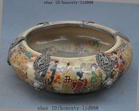 antique crocks - Antiques China Porcelain Inlay Tibet Silver Dragon Phoenix Belle Bowl Pot Crock