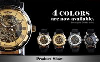 altimeter watches for men - Fashion Winner Black Leather Band Stainless Steel Skeleton Mechanical Watch For Man Gold Mechanical Wrist Watch
