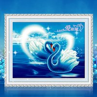 Wholesale 5D Diamond Painting DIY Sets Kits Romantic Swan Lank Cross Stitch Love Wedding Marriage Living Room Bedroom Restaurant Home Wall Decoration