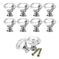 Cheap 10Pcs 30mm Diamond Shape Crystal Glass Door Drawer Cabinet Pull Handle Knob Screw Home Furniture Hardware