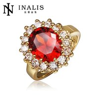 Wholesale Ruby high grade local tyrants gold diamond alloy Ladies Ring fashion lady brand alloy ring Europe and the United States popular accessories