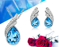 aqua crystal gifts - crystal set Korean high grade fashion jewelry set necklace earrings drill flash jewelry for women Set