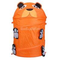Wholesale Cartoon Animal Folding Storage Bucket Toy Box Cylinder Laundry Basket Dog K5BO