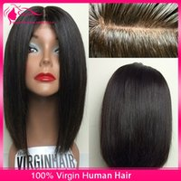 silk top full lace wigs - Silk Top Brazilian Human Hair Full Lace Wigs A Unprocessed Straight Virgin Hair Silk Based Short Bob Lace Front Wigs For Black Women