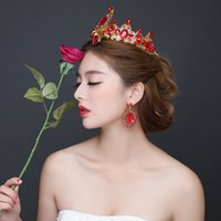 Wholesale Red Rhinestone Wedding Crown Tiaras Hair Accessories Married Crown Bridal Accessories Pageant Crowns Earrings Black Crystal Hair Accessory