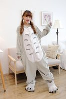 best flannel pajamas - best selling new Flannel household to take toilet version totoro lovers pajamas cartoon animals sleeper suit men and women fall and winter