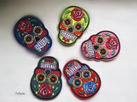 sugar flowers - Flower sugar skull Fabric applique iron on patch DIY Sewing Knitting Supplies x7cmm