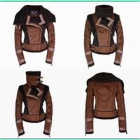berber jackets - Women Slim Fur Pieces Berber Patchwork Short Green Suede Shearling Coats Fur Leather Zipper Clothing Vintage Motorcycle Jacket