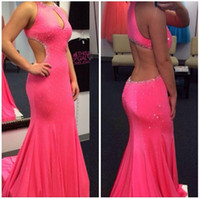 baby celebrities pictures - Baby Fuchsia Prom Dresses Jewel Beads Crystal Mermaid Sexy Sheath Sweep Trains Evening Gowns Long Celebrity Dress Robe De Soiree Cheap ZYY