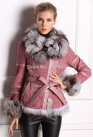 leather and fur garment - 2015 Lady Autumn Genuine Real Leather Jacket Coat Fox Fur Collar And Sleeve Winter Women Fur Outerwear Coats Garment VK2264