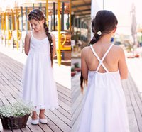 Wholesale Shirred Dress Straps - Spaghetti Strap Chiffon Satin Junior Bridesmaid Dresses Shirred Bodice and Attached Ruched Sash A Line at Back Little Girls Gown White Cute