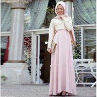 Wholesale Chiffon Headscarf - Elegant Pink Muslim Long Evening Dress Chiffon Vestidos De Festa With Headscarf Formal Evening Gowns Abaya Kaftan Party Dress