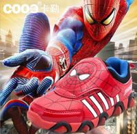 autumn spider - 2016 Avengers children shoes Spider man Iron man shoes children s shoes sports flash hero alliance yard New Year DHL gift