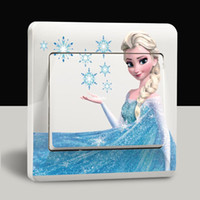 Wholesale 100pcs DIY fashion creative switch stickers Frozen cartoon characters wall stickers christmas beautiful stickers gifts for friends