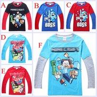 boys t-shirt - Free DHL Minecraft Kids T shirts Creeper Games Items Steve Boys T Shirts Kids Long sleeve Cartoon T shirt Colors