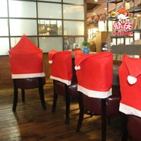 Wholesale EMS Large Non wover ed Christmas hats Christmas hats chairs home accessories hotel Christmas hats Christmas Dinner chair Decor New Arrival