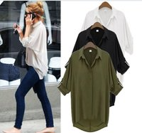 Wholesale Casual All match Chiffon Shirts Blouses Plus Size S XL New Summer Women Apparent Long Batwing Sleeve Turn down Collar Loose shirt tops