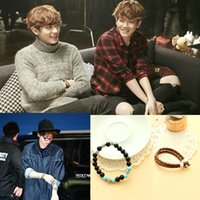 Wholesale Exo Chanyeol Chrome onyx turquoise leather bracelet Kpop Chan yeol bracelets