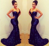 Wholesale BH Sparkling Sweetheart Off Shoulder Sleeveless Mermaid Long Deep Blue Sequin Prom Dresses Evening Gown Short Trailing