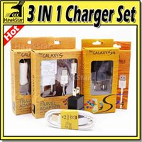 Wholesale Wall Charger in Set USB Cables Car Chargers US EU Version V A Adapter m Micro USB Data Cable For Samsung S6 Nokia With Retail Box