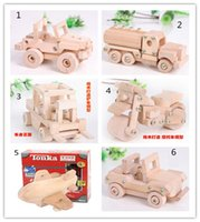 Wholesale 28pcs TONKA Wooden Model Kit DIY assembly jeep motorcycle forklift tank truck Open top car EducationalToys