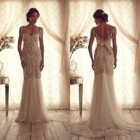 anna stone - luxury anna campbell wedding dresses sheath sweetheart neckline stones beaded bodice beading shoulder covers champagne tulle bridal gowns