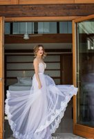 Wholesale Custom Made Julie Vino Spring Summer Wedding Dresses A Line Sweetheart Tulle Lace Bridal Gowns Appliques Sash Backless Wedding Dress