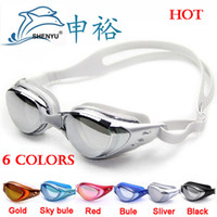 Wholesale anti fog anti ultraviolet swimming goggles men and women unisex coating swimming glasses adult goggles factory price and free ship