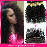 Wholesale 7A Human Hair With Lace Frontal Closure x4 Indian Deep Curly Full Lace Frontal Closure Bleached Knot With Virgin Hair Bundles