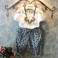 Cheap tutu Summer baby girls lace blouse shirts+fashion haren pants 2pcs clothes set children's clothing kids roupas infantil meninas