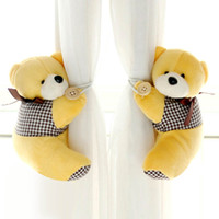 bear tracks - High quality Pair New window curtain hook tieback cute bear Curtain buckle hangers belt colors