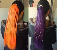 best synthetic hair braiding - Best selling Hill multicolour long Straight ponytail night club performance horsetail Twist braid pc