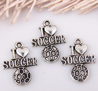 soccer jewelry - Hot Sale Antiqued Silver Alloy quot I love soccer quot Charm Pendants DIY Jewelry x mm p14