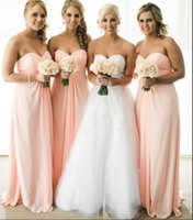 Wholesale Orange Pink Chiffon Junior Bridesmaid Dresses Custom Size Formal Dresses Floor Length Sweetheart Strapless Plus Size Maid of Honor Dress