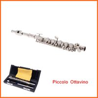 Wholesale Good Quality Ottavino Beautiful Silver Plated Piccolo C Key Cupronickel with Cork Grease Cleaning Cloth Screwdriver Case