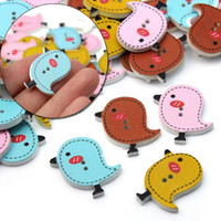 Wholesale 150 MIXED Colors Lovely Birds Shape Two Hole Wooden Buttons For DIY