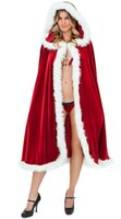 adult dance clothing - Adult Christmas Costumes Red Velvet Cape Hooded Poncho Plush Trimming Women Xmas Party Decorations Shawl Stage Wear Dance Clothes Cloak