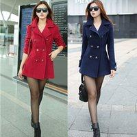 Cheap New 2015 women winter wool coat women's double breasted coats ladies long blue red camel woollen jacket female plaid overcoats