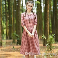 Casual Dresses artistic checks - New winter cotton and linen new ladies dress artistic van big checked dress code show thin