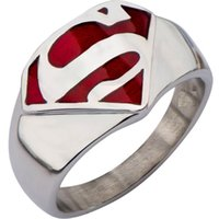 class ring - Size Stainless Steel Superman Ring Wedding School Child Comics Graduation Engagement cocktail Class